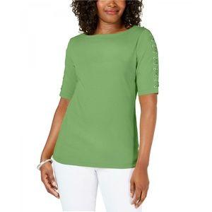 NWT Karen Scott Lace Up Sleeve Top Large Green